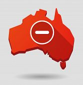stock photo of subtraction  - Illustration of an Australia map icon with a subtraction sign - JPG