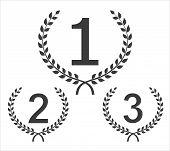 Cilcular Winner Emblems. Set From Three Winners