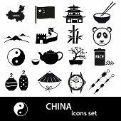 China Theme Black Icons Vector Set Eps10