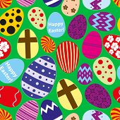 Various Color Easter Eggs Design Seamless Pattern Eps10