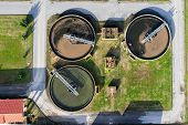 stock photo of sewage  - aerial view of Giannitsa city sewage treatment plant - JPG