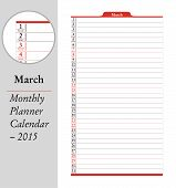 March, Montly Planner Calendar - 2015