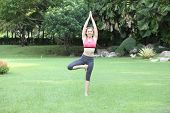 Young Woman Practicing Tree Yoga Pose On Lawn,left Side