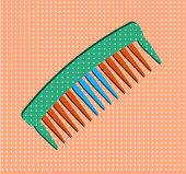 Hair salon - isolated comb on pink dotted background