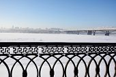 NOVOSIBIRSK, RUSSIA - DECEMBER 20, 2014: Metro bridge across the Ob river and left bank part of city. It is the world longest metro bridge with the length 2145 m