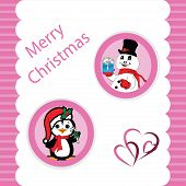 Pink Christmas With A Peguin And Snowman