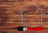 Shape Of A Home Building And Brush - Stock Image