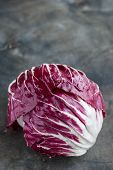 Radicchio Red Salad On Wooden Background. Vertical