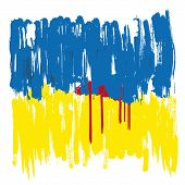 image of civil war flags  - Ukraine drowning in the blood  - JPG