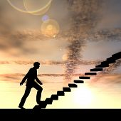 Concept or conceptual 3D male businessman on stair or steps over sunset sky background