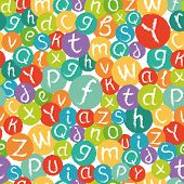 Seamless pattern - funny english alphabet. Hand drawn chalk like letters in colorful circles.