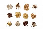 Collection Of Cereal Grains And Seeds Isolated On White Background