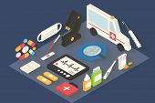 Medical vector icons set. Healthcare infographic 3d isometric.