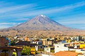 stock photo of magma  - View of the Misty Volcano in Arequipa Peru South America - JPG