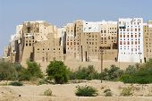 Mud brick tower houses town of Shibam, Hadramaut valley, Yemen.