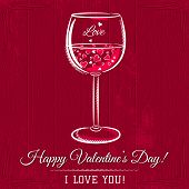 Red Valentine Card With Glass Of Wine And Wishes Text,  Vector