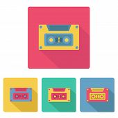 Set of colorful cassetes in flat style