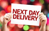 Next Day Delivery card with colorful background with defocused lights