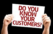 Do You Know Your Customers? card isolated on black background