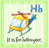 Illustration of an alphabet H is for helicopter