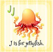 Illustration of an alphabet J is for jellyfish