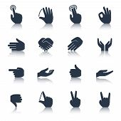pic of tapping  - Human hands applause tap helping action gestures icons black set isolated vector illustration - JPG
