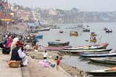 General View Of Ghats And The Ganges River In Varanasi, Uttar Pradesh, India