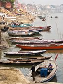 Boats On The Ganges River In Varanasi, Uttar Pradesh, India