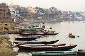 Boats On The Ganges River In Varanasi, Uttar Pradesh, India