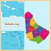 Map of Barbados drawn with high detail and accuracy. Barbados is divided into parishes which are colored with different bright colors