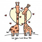 Постер, плакат: Couple of giraffes in love Hand drawn cartoons