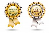 pic of rosettes  - two golden ribbon rosettes isolated on white background vector illustration eps 10 with transparency - JPG
