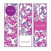 Vector vibrant field flowers vertical banners set pattern background