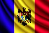 Waving flag of Moldova, vector