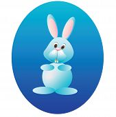 rabbit against the blue eggs-vector illustration
