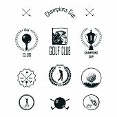Golf. Vector Set Golfing Champion Labels And Icons. Symbols Golf Putter And Myach With Elements