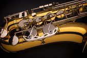 stock photo of saxophones  - A close up photograph of a Tenor Saxophone - JPG