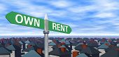 Own Or Rent Sign With Houses