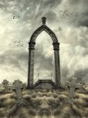 image of grass bird  - Fantasy Landscape with arch birds and graves art and illustration - JPG
