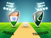 image of cricket  - India vs Pakistan Cricket Match concept with their countries flag shield shining in stadium lights - JPG