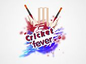 stock photo of cricket  - Colorful splash with cricket bat and wicket stumps for Cricket Fever on white background - JPG