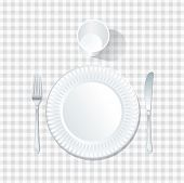 image of mandible  - vector paper plate with plastic glass on white tablecloth - JPG