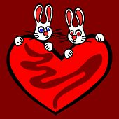 Couple of rabbits with big bloody heart