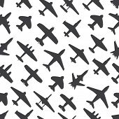 Transport and navy airplanes and jets seamless background