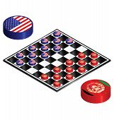 foto of draught-board  - USA Afghanistan conflict played out on a checkers board - JPG