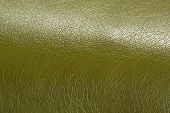 Olive Green Glossy Artificial Leather Background Texture Close-up