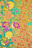 stock photo of batik  - The flower Batik Thai traditional background style - JPG
