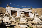 Traditional Tibetan house in the desolate Himalayas of Ladakh, northern India- September 2014