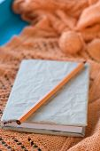 Old Notebook For Records, Ball Of Yarn Lying On Wooden Orange Knitted Plaid