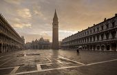 VENICE; NOVEMBER 4:  Early view of historical square of San Marco in the lagoon city of Venice in Italy. The city is getting ready for high tide on November 4, 2014